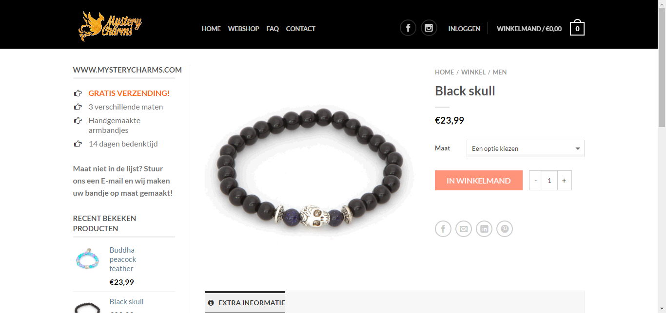 Webshop MysteryCharms - Webdesign Mechelen